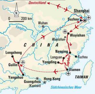 China: Karte und Tourenverlauf Wanderungen zwischen Karstbergen und Reisterrassen