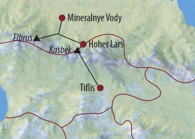 Argentinien: Karte und Tourenverlauf Kasbek-Elbrus-Expedition