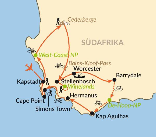 Südafrika: Karte und Tourenverlauf Aktivreise Western Cape