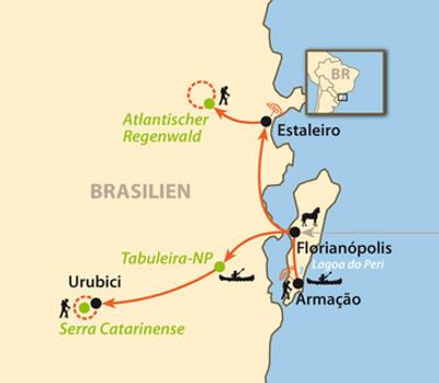 Brasilien: Karte und Tourenverlauf Erlebnis- und Entdeckungsreise Südbrasilien