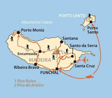 Madeira: Karte und Tourenverlauf Durchquerung der Blumeninsel Madeira