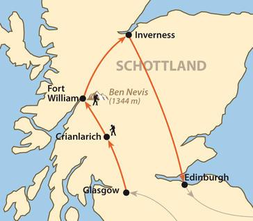 : Karte und Tourenverlauf West Highland Way