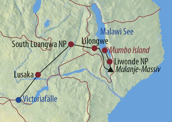 Mosambik: Karte und Tourenverlauf Safari Luangwa-Fluss und Victoria Falls
