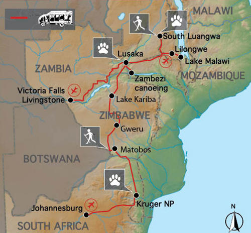 Mosambik: Karte und Tourenverlauf Von Sambia über Malawi und Simbabwe nach Südafrika