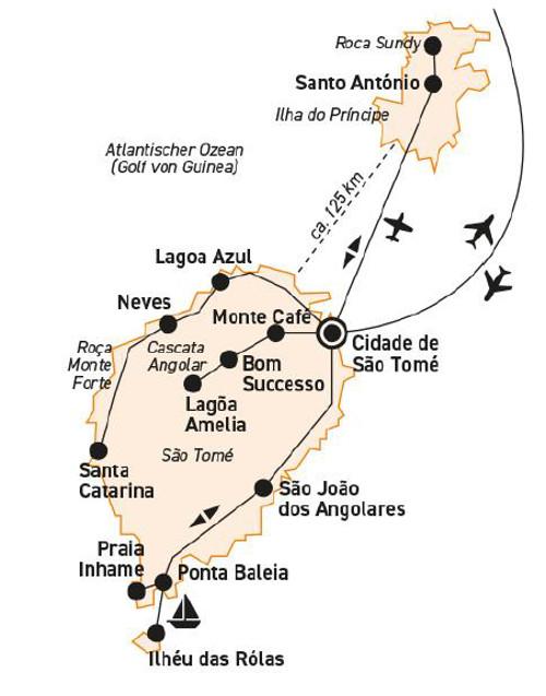 Kapverden: Karte und Tourenverlauf Kultur- und Erlebnisreise zu den Höhepunkten