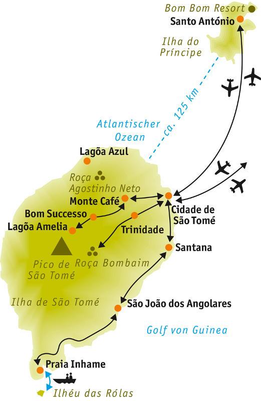 São Tomé e Príncipe: Karte und Tourenverlauf São Tomé & Príncipe Wanderreise