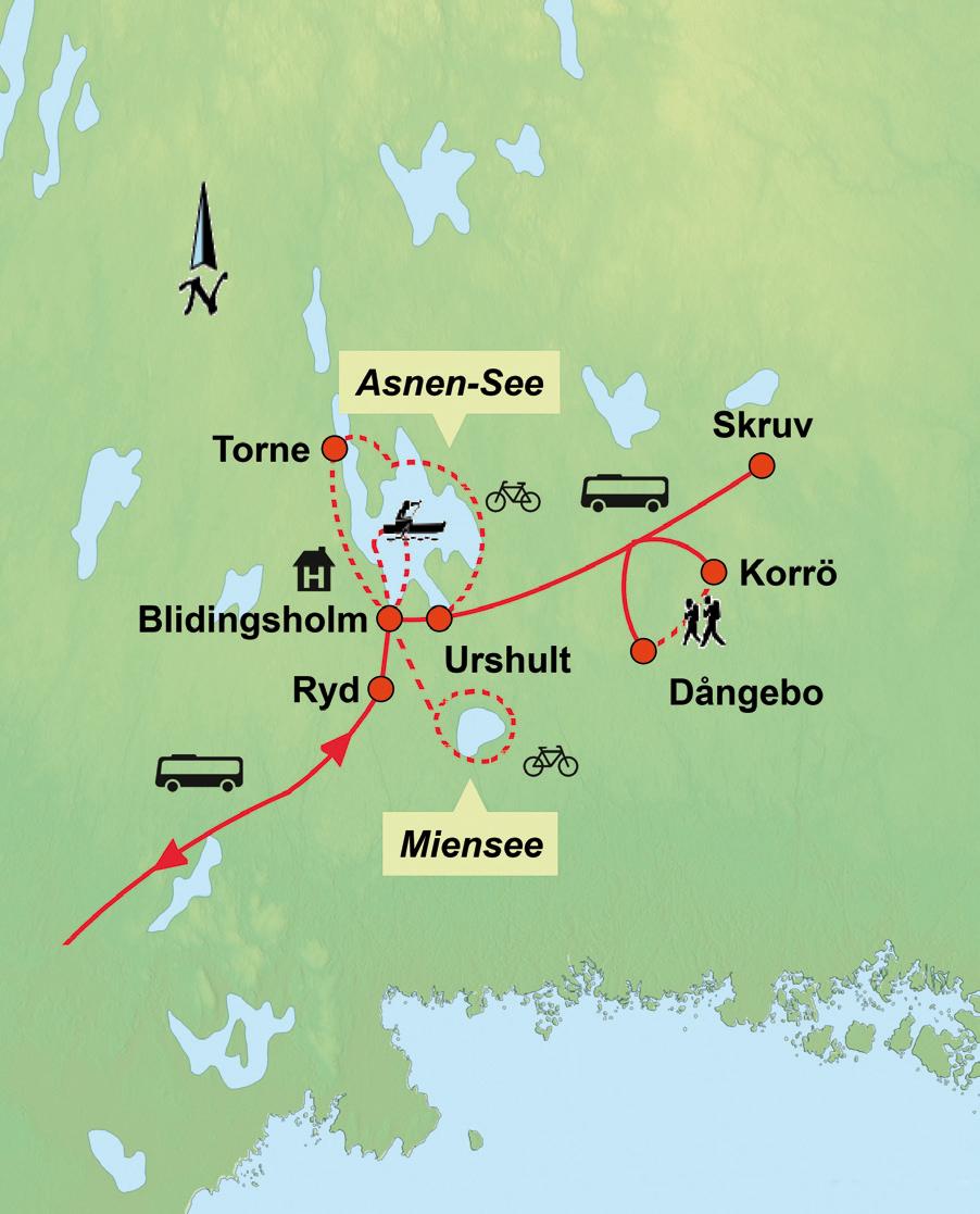 Schweden: Karte und Tourenverlauf Aktivreise Südschweden