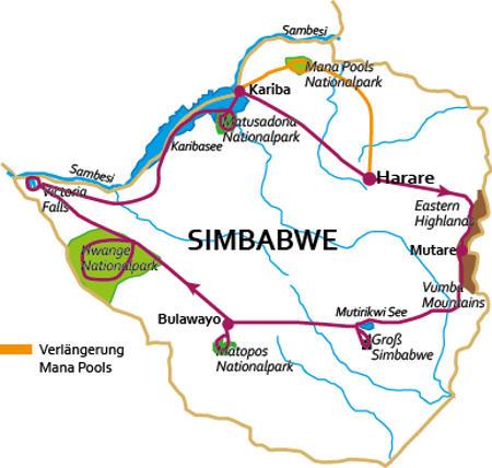 Botswana: Karte und Tourenverlauf Rundreise Simbabwe