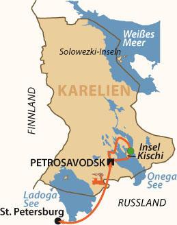 Finnland: Karte und Tourenverlauf Skitour in Russisch-Karelien