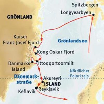 Island: Karte und Tourenverlauf Expeditions-Kreuzfahrt Nordmeer