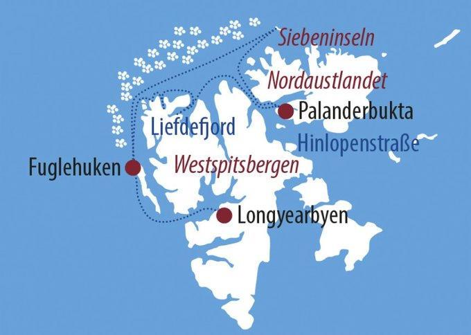 Grönland: Karte und Tourenverlauf Kreuzfahrt Spitzbergen