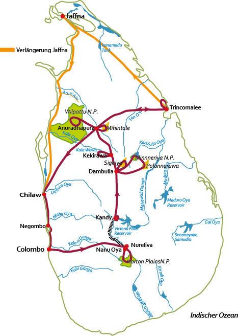 Sri Lanka: Karte und Tourenverlauf Natur- und Kultur-Rundreise durch das ehemalige Ceylon