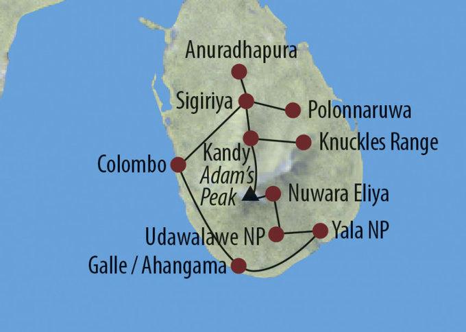 Indien: Karte und Tourenverlauf Trekking- und Kultur-Rundreise
