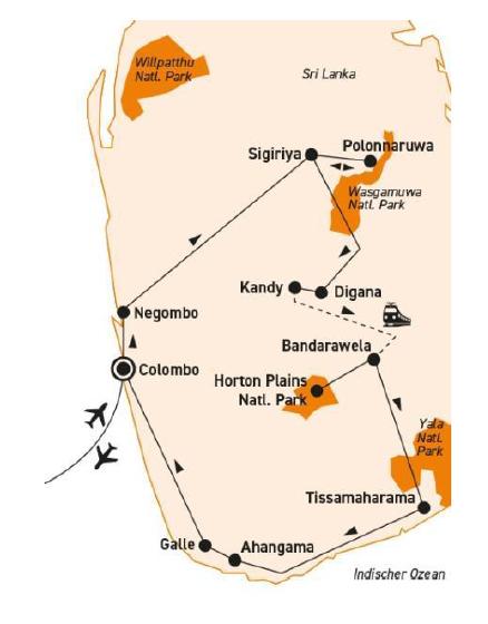 : Karte und Tourenverlauf Natur- und Kulturreise mit Wanderungen und Radtouren