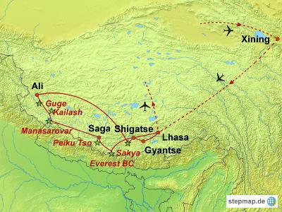 Nepal: Karte und Tourenverlauf Kailash