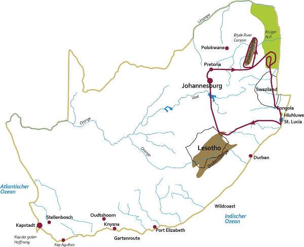 Namibia: Karte und Tourenverlauf Safari-Reise durch Südafrikas Nordosten