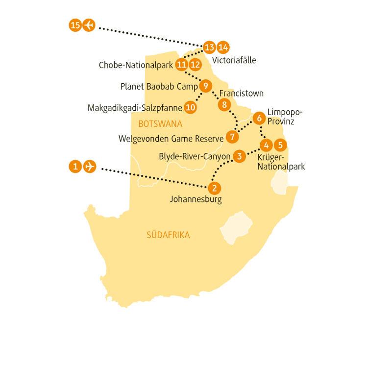 Botswana: Karte und Tourenverlauf Kombinations-Rundreise Südafrika und Botswana