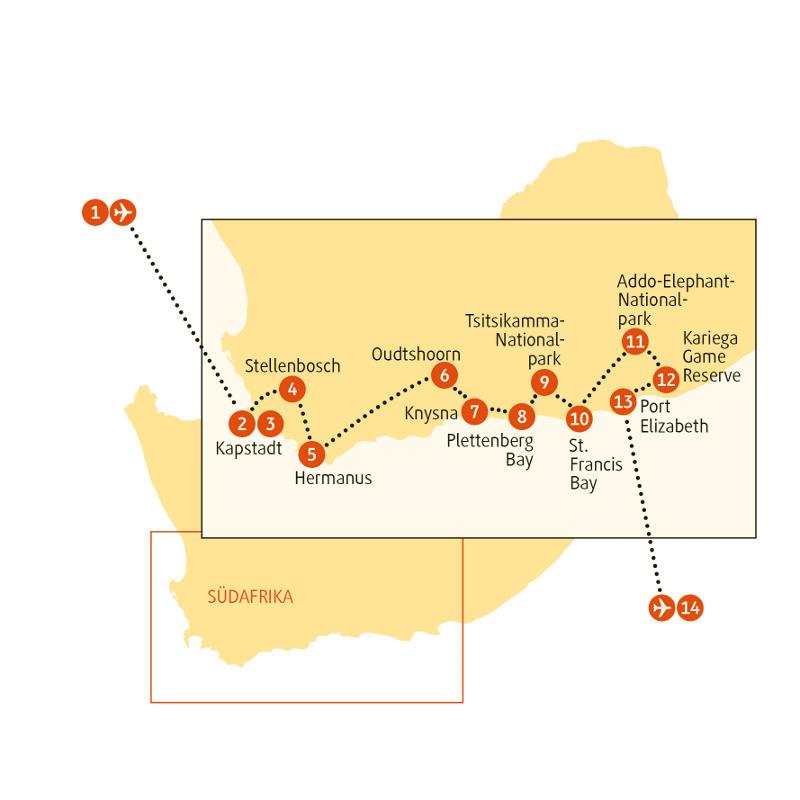 Südafrika: Karte und Tourenverlauf Individualreise Garden Route – Rundreise durch den Süden