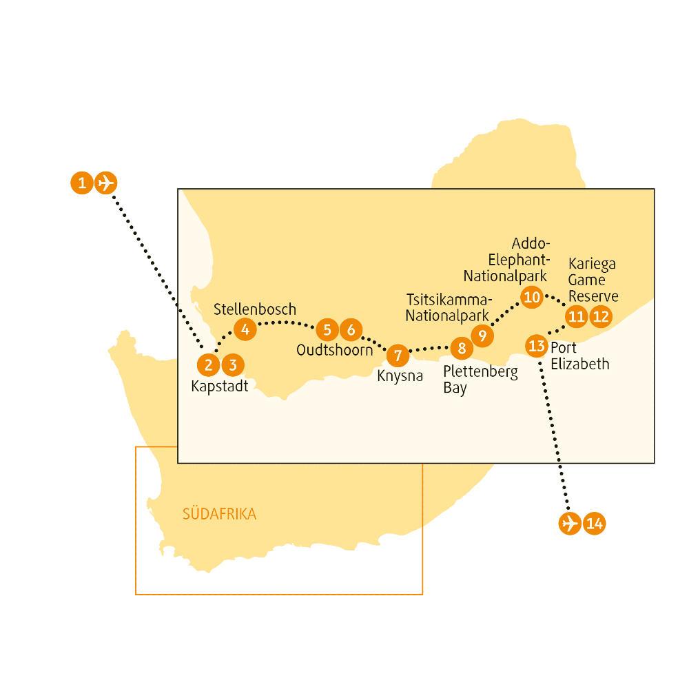 Südafrika: Karte und Tourenverlauf Garden Route – Rundreise durch den Süden