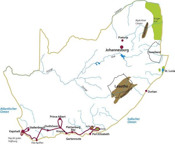 Südafrika: Karte und Tourenverlauf Kapstadt und Garden Route