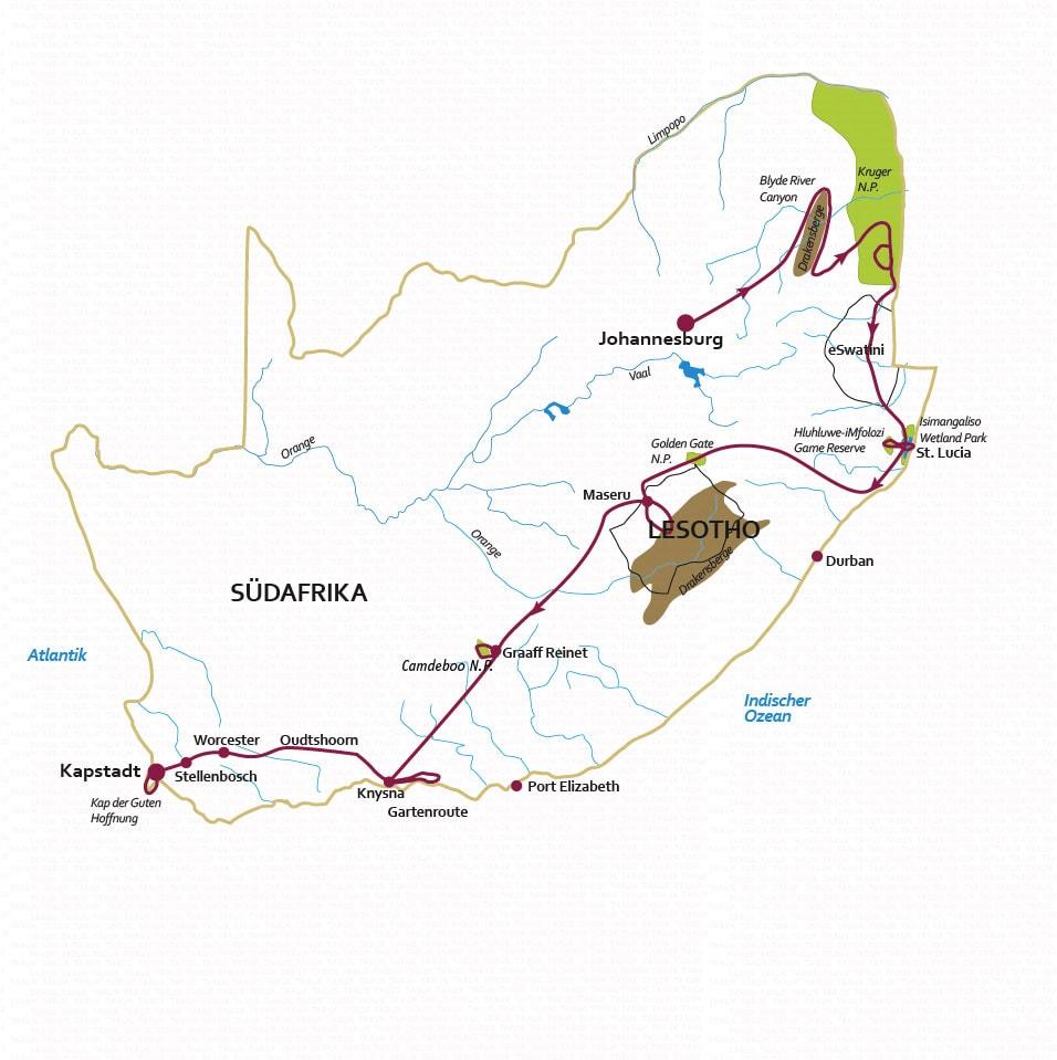 Südafrika: Karte und Tourenverlauf Rundreise zu den Höhepunkten Südafrikas