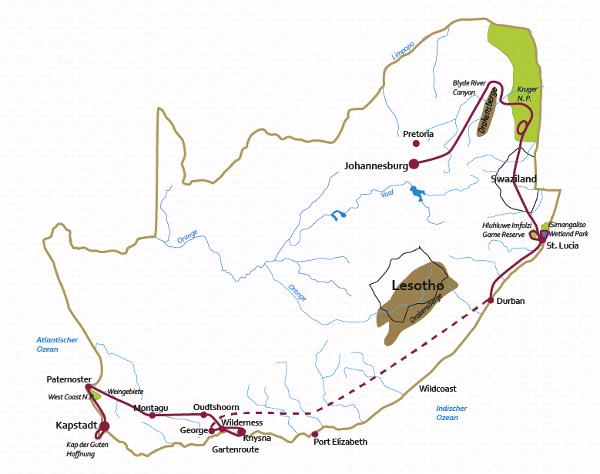 Südafrika: Karte und Tourenverlauf Kleine Safari-Rundreise