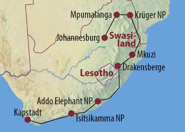 Südafrika: Karte und Tourenverlauf Safari vom Krüger Nationalpark bis Kapstadt Lodge