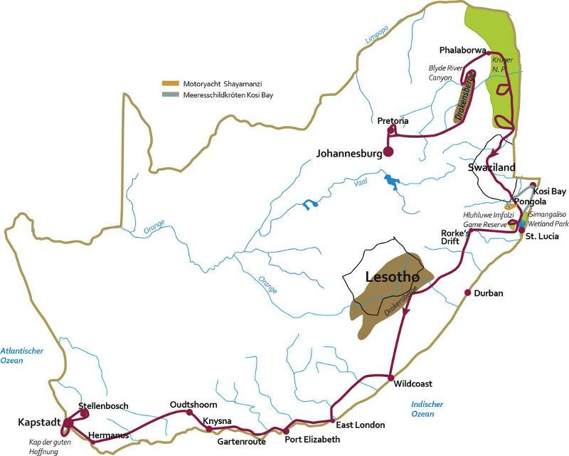 Südafrika: Karte und Tourenverlauf Krüger Nationalpark und Garden Route