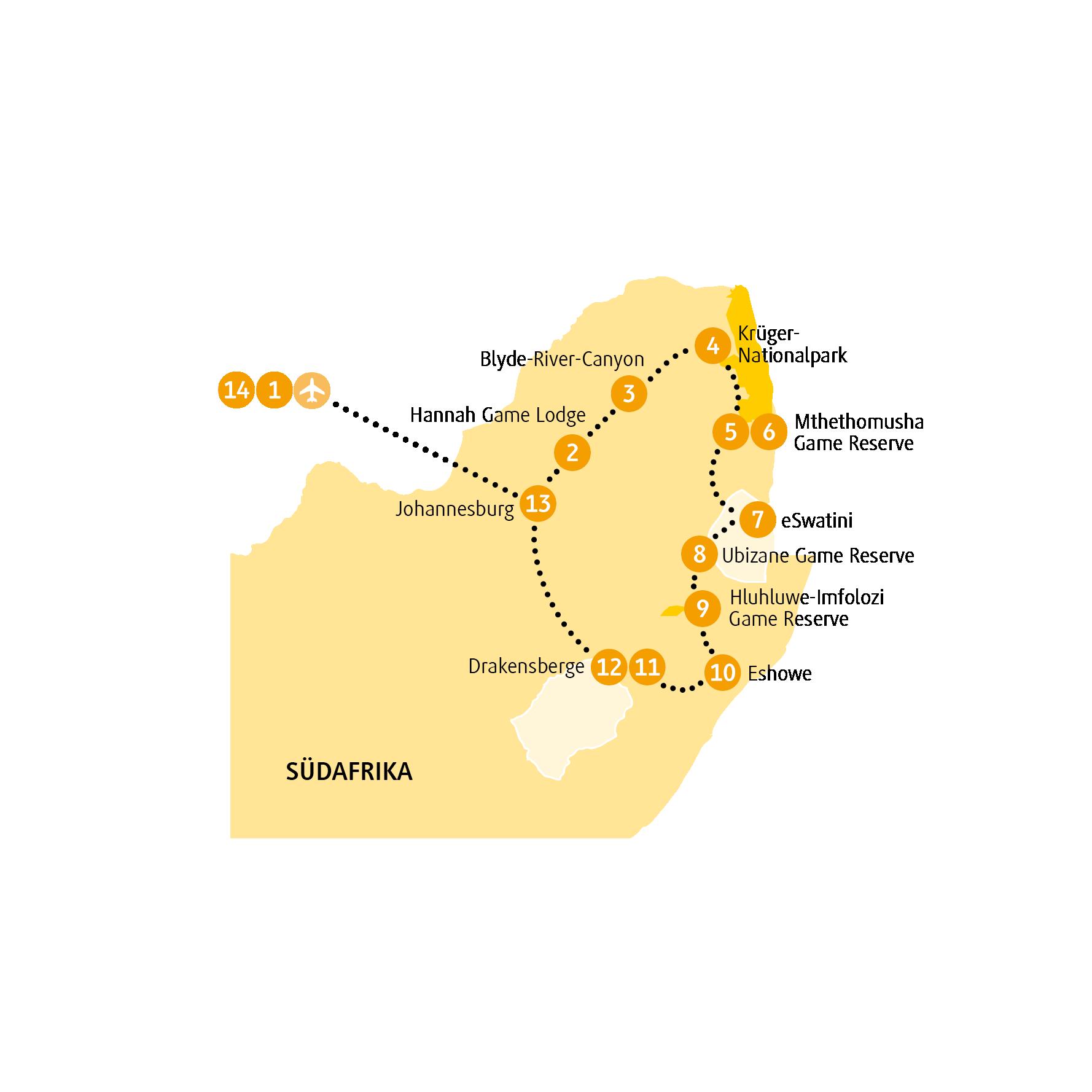 Namibia: Karte und Tourenverlauf Krüger – Safari im Norden