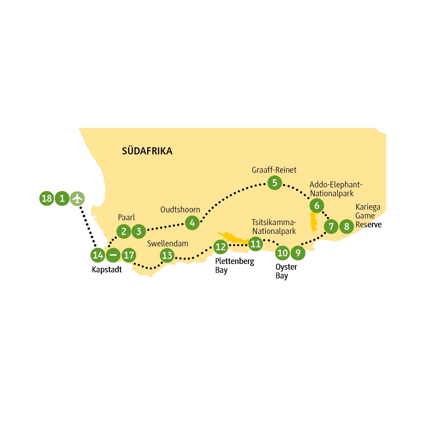 Namibia: Karte und Tourenverlauf Privatreise Garden Route – Reise durch den Süden