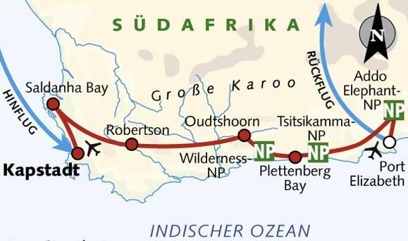Kuba: Karte und Tourenverlauf Fahrradreise Kapstadt – Port Elizabeth