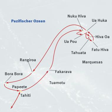 Indonesien: Karte und Tourenverlauf Kreuzfahrt Tahiti und Marquesas