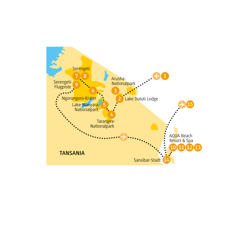 Tansania: Karte und Tourenverlauf Rundreise Tansania – Safari und Sansibar (Deluxe)