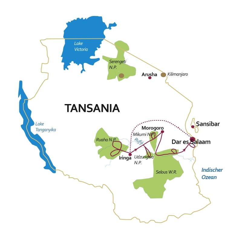 Tansania: Karte und Tourenverlauf Safari-Reise Süd-Tansania