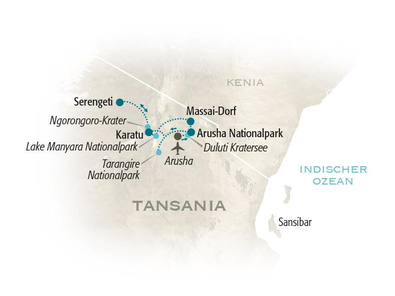 Tansania: Karte und Tourenverlauf Serengeti – Safari mit Kindern