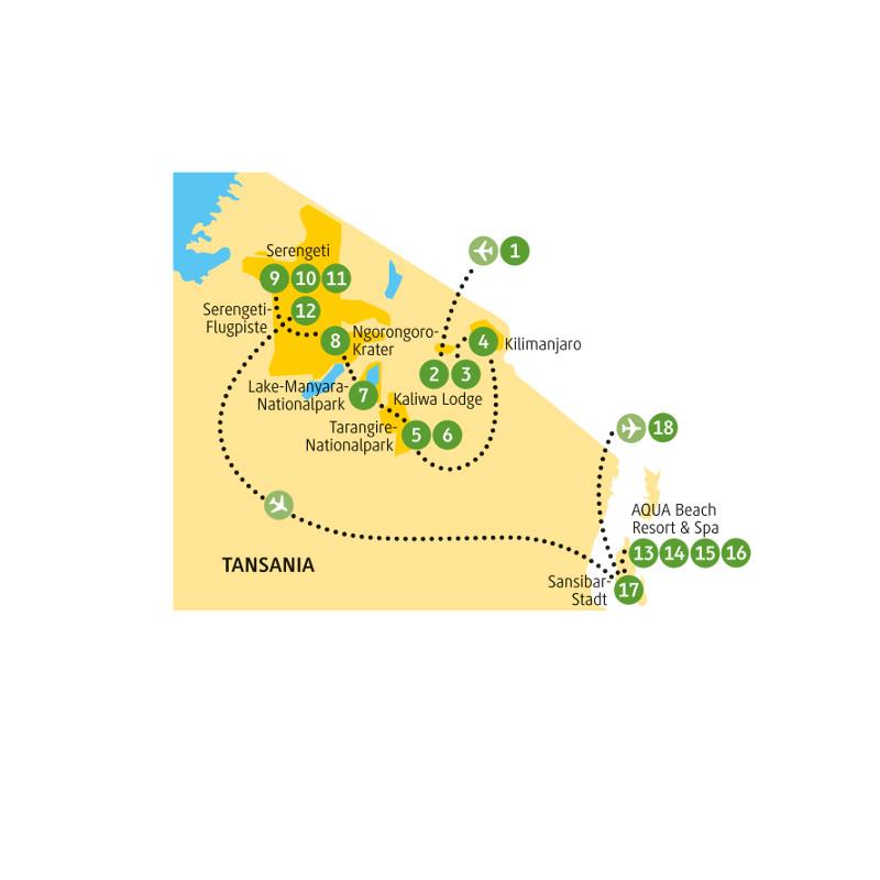 Tansania: Karte und Tourenverlauf Safari im Nordosten und Erholung auf Sansibar
