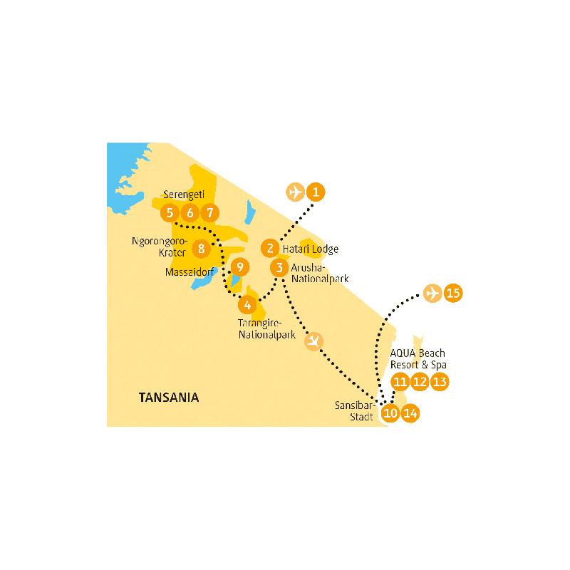 Tansania: Karte und Tourenverlauf Safari – Sansibar