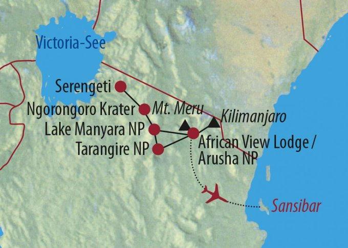 Kenia: Karte und Tourenverlauf Kilimanjaro – Safari – Sansibar