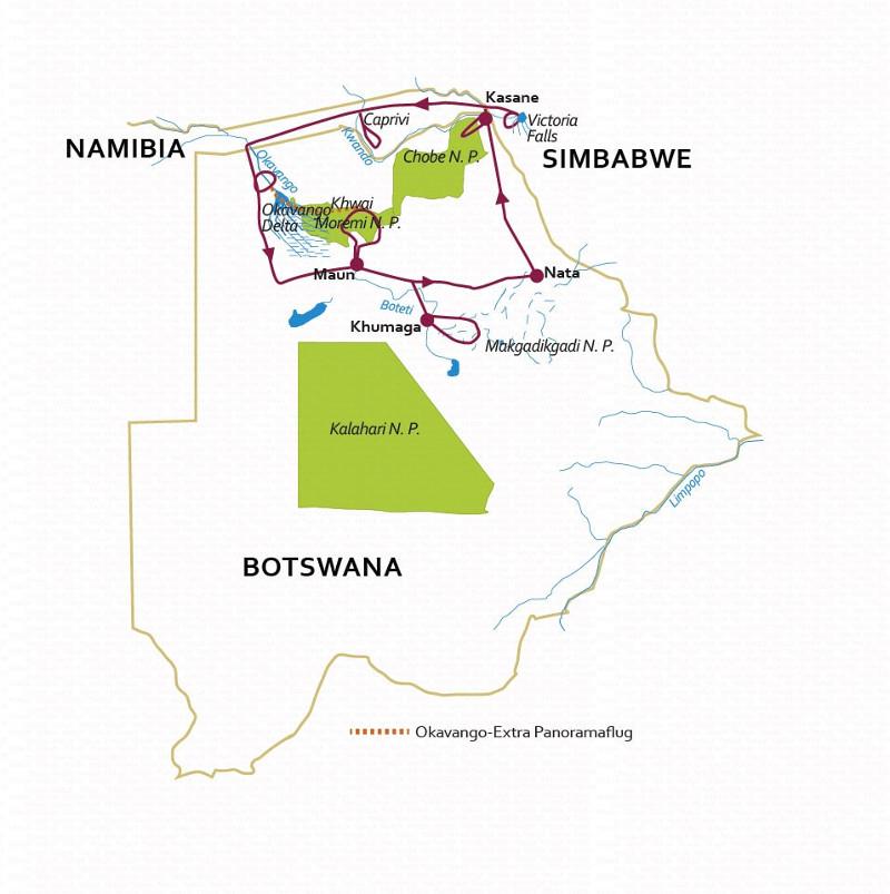 Botswana: Karte und Tourenverlauf Safari und Bootsfahrten – Caprivi, Okavango, Chobe