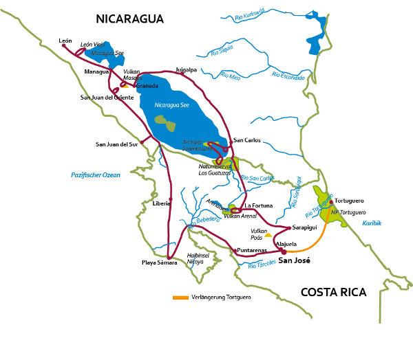 Costa Rica: Karte und Tourenverlauf Rundreise Costa Rica und Nicaragua