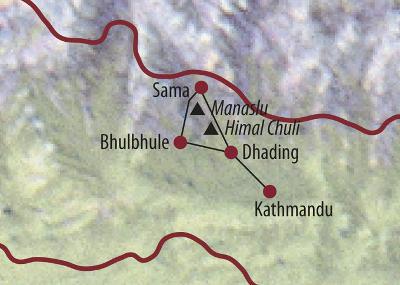 Nepal: Karte und Tourenverlauf Himalaya – Trekking – Manaslu