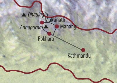 Nepal: Karte und Tourenverlauf Himalaya – Trekking – Annapurna