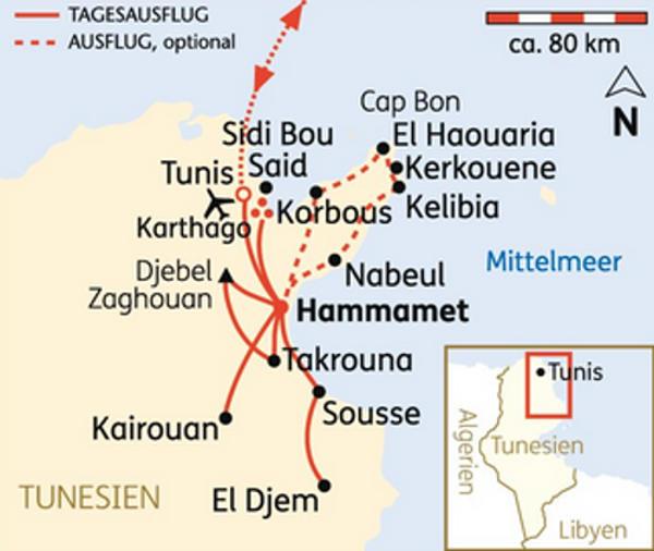 Tunesien: Karte und Tourenverlauf Kultur und Strandurlaub in Tunesien