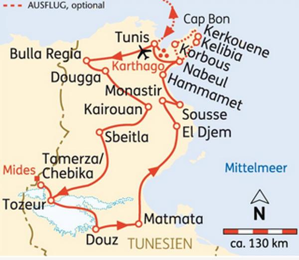 Marokko: Karte und Tourenverlauf Kulturreise Tunesien
