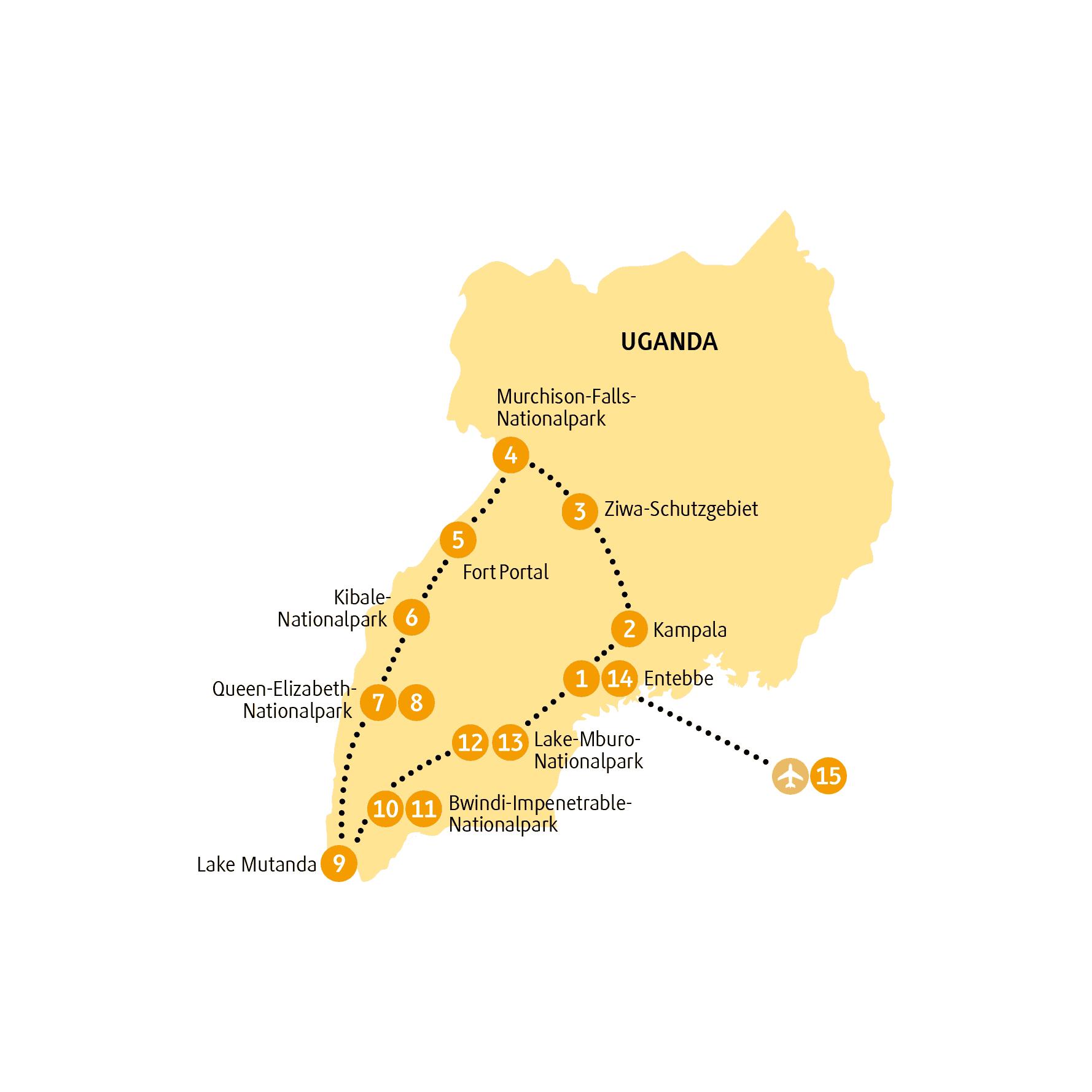 Kenia: Karte und Tourenverlauf Nationalparks in Uganda/Ruanda und Gorillatrekking