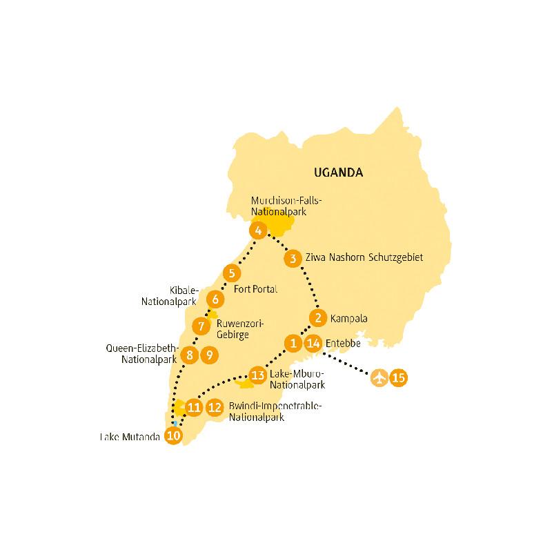 Kenia: Karte und Tourenverlauf Nationalparks in Uganda und Gorillatrekking