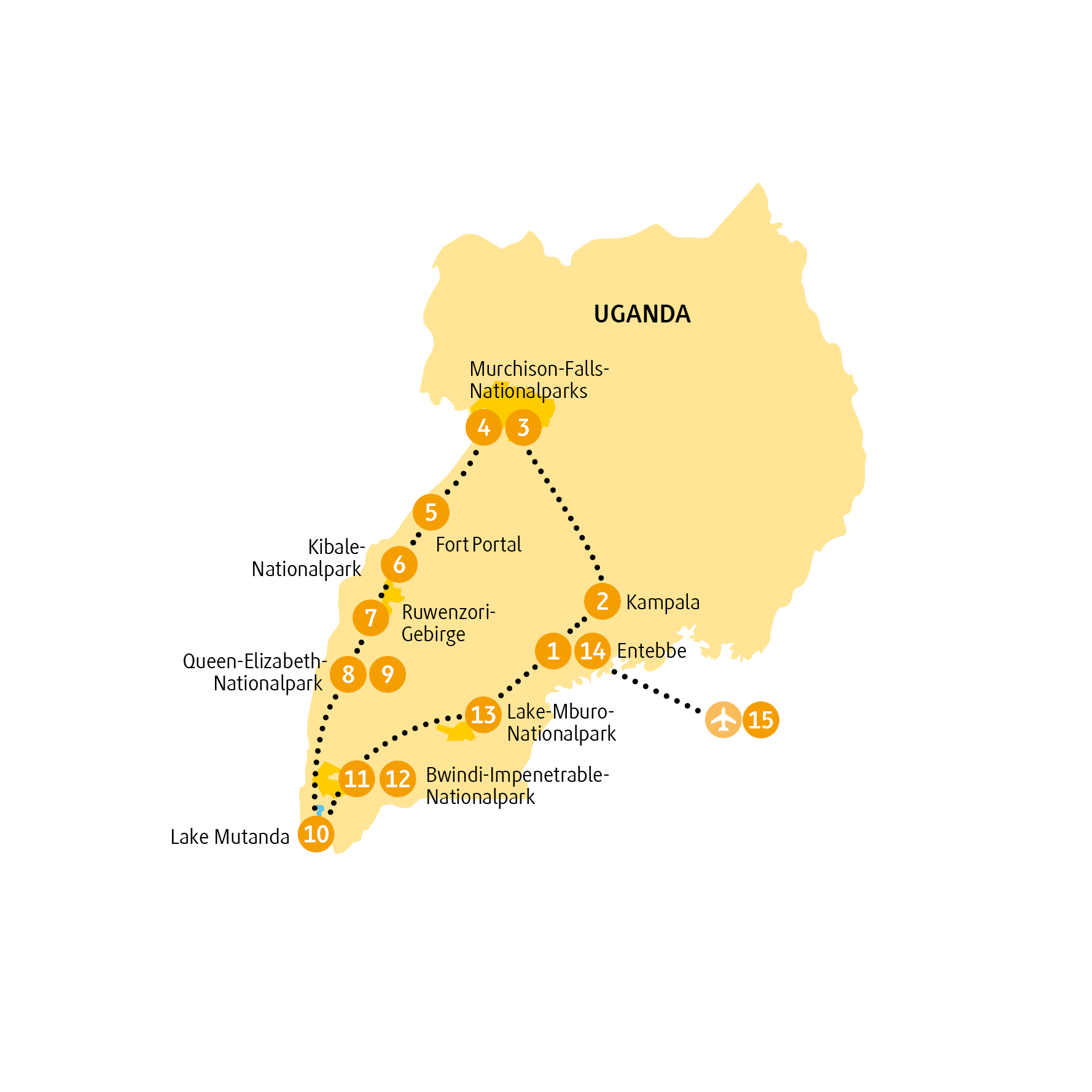 Uganda: Karte und Tourenverlauf Nationalparks in Uganda und Gorillatrekking