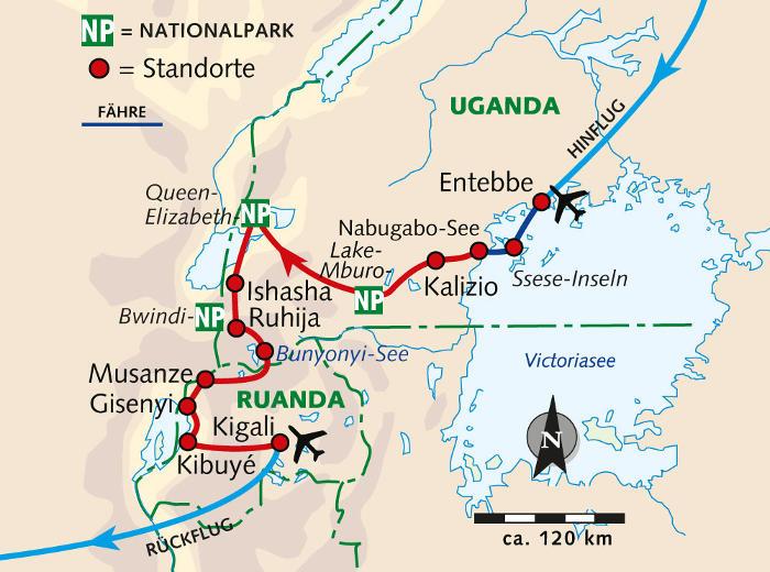 Südafrika: Karte und Tourenverlauf Fahrradreise Uganda und Ruanda