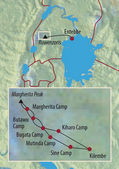 Kenia: Karte und Tourenverlauf Ruwenzoris