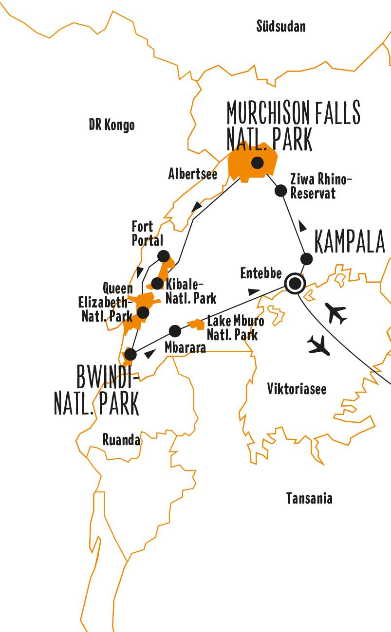 Kenia: Karte und Tourenverlauf Safaris, Gorillas und Schimpansen